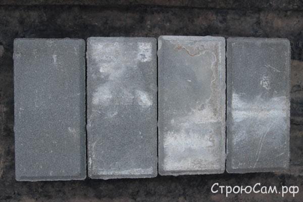 Образцы брусчатки 2, 3, 4 испорчены из-за неправильного хранения