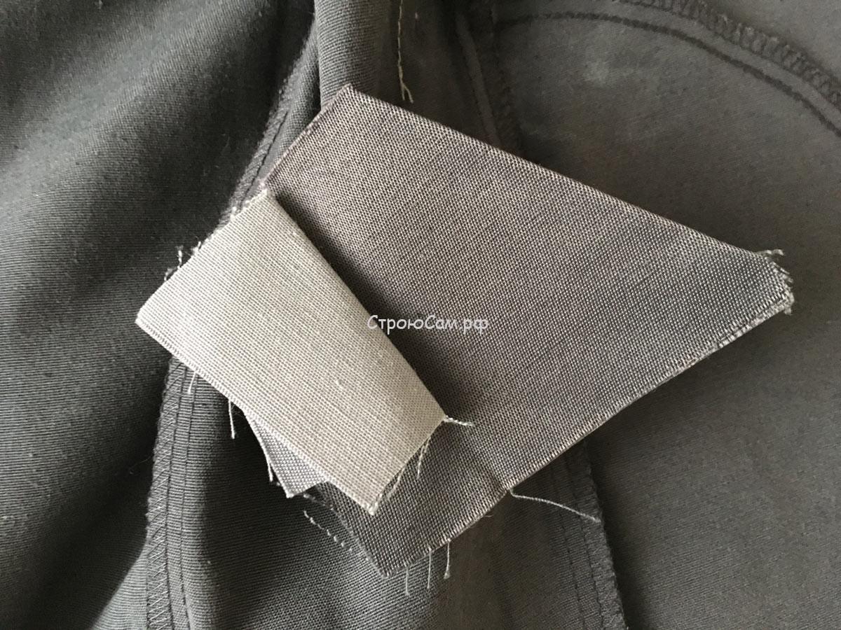 """Обзор спецовки """"Сириус-Фаворит"""". Внутри куртки вшит ремкомплект - лоскут темносерой ткани и лоскут светло-серой ткани"""